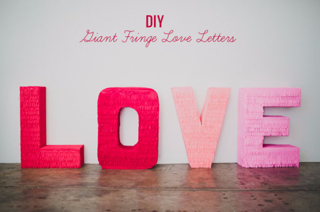 DIY Wall Letters and Initals Wall Art - DIY Giant Fringe Love Letters - Cool Architectural Letter Projects for Living Room Decor, Bedroom Ideas. Girl or Boy Nursery. Paint, Glitter, String Art, Easy Cardboard and Rustic Wooden Ideas