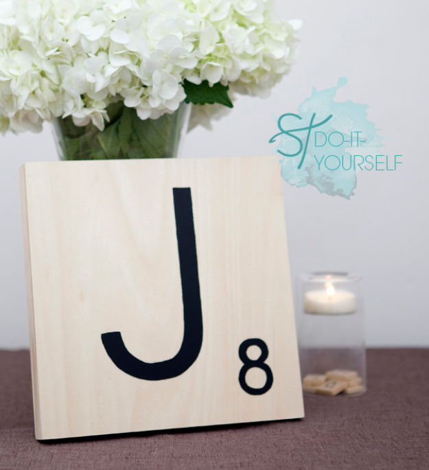 DIY Wall Letters and Initals Wall Art - DIY Giant Scrabble Tile Table Numbers - Cool Architectural Letter Projects for Living Room Decor, Bedroom Ideas. Girl or Boy Nursery. Paint, Glitter, String Art, Easy Cardboard and Rustic Wooden Ideas http://diyprojectsforteens.com/diy-projects-with-letters-wall
