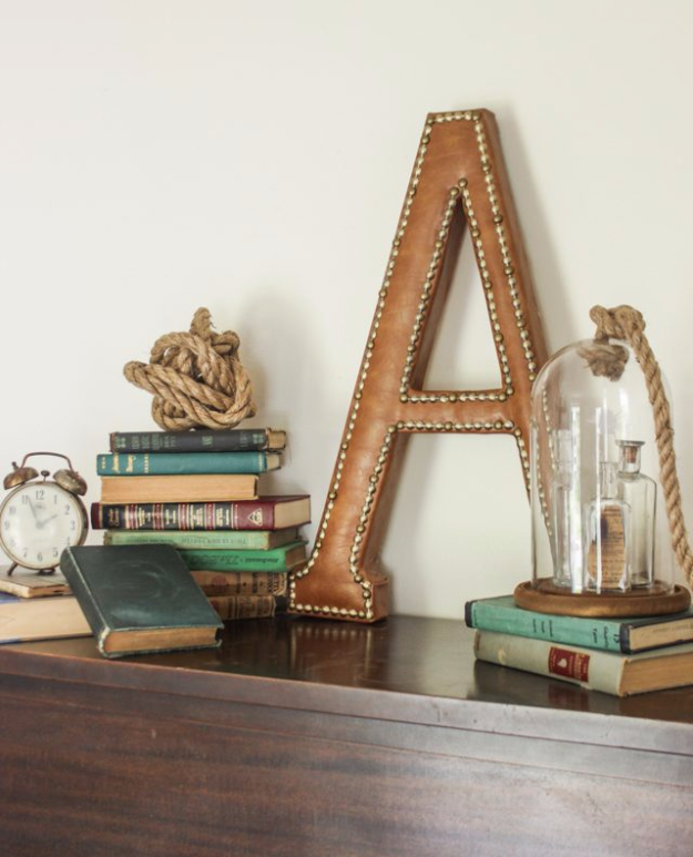 DIY Wall Letters and Initals Wall Art - DIY Leather Monogram With Nailhead Trim - Cool Architectural Letter Projects for Living Room Decor, Bedroom Ideas. Girl or Boy Nursery. Paint, Glitter, String Art, Easy Cardboard and Rustic Wooden Ideas http://diyprojectsforteens.com/diy-projects-with-letters-wall