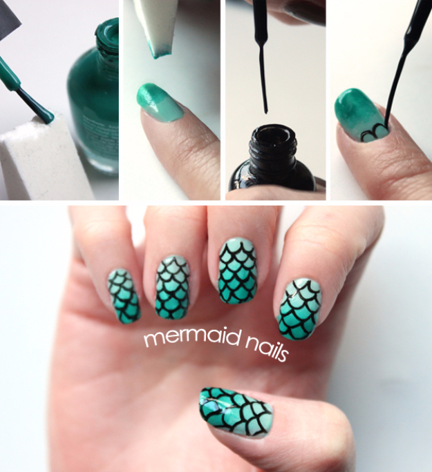 Awesome Nail Art Patterns And Ideas - DIY Mermaid Nails - Step by Step DIY Nail Design Tutorials for Simple Art, Tribal Prints, Best Black and White Manicures. Easy and Fun Colors, Shapes and Designs for Your Nails http://diyprojectsforteens.com/best-nail-art-patterns-tutorials