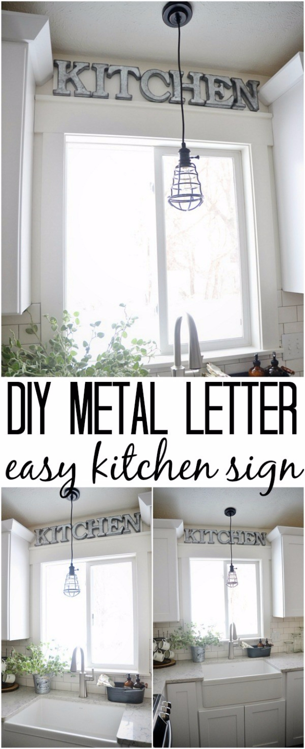 DIY Wall Letters and Initals Wall Art - DIY Metal Letter Industrial Kitchen Sign - Cool Architectural Letter Projects for Living Room Decor, Bedroom Ideas. Girl or Boy Nursery. Paint, Glitter, String Art, Easy Cardboard and Rustic Wooden Ideas