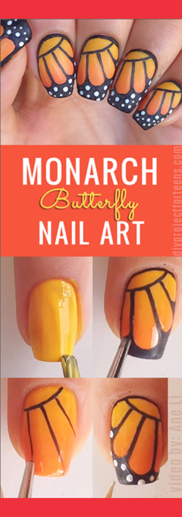 Awesome Nail Art Patterns And Ideas - DIY Monarch Butterfly Nail Art - Step by Step DIY Nail Design Tutorials for Simple Art, Tribal Prints, Best Black and White Manicures. Easy and Fun Colors, Shapes and Designs for Your Nails