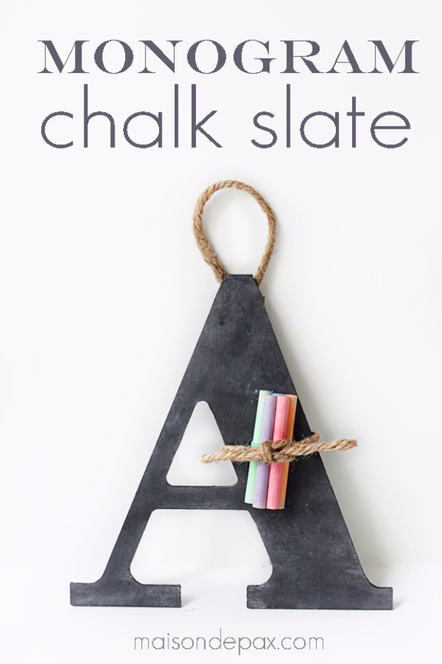 DIY Wall Letters and Initals Wall Art - DIY Monogram Chalk Slate - Cool Architectural Letter Projects for Living Room Decor, Bedroom Ideas. Girl or Boy Nursery. Paint, Glitter, String Art, Easy Cardboard and Rustic Wooden Ideas http://diyprojectsforteens.com/diy-projects-with-letters-wall