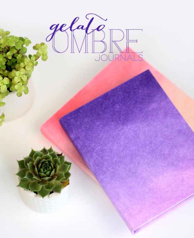 DIY School Supplies You Need For Back To School - DIY Ombre Journals - Cuter, Cool and Easy Projects for Teens, Tweens and Kids to Make for Middle School and High School. Fun Ideas for Backpacks, Pencils, Notebooks, Organizers, Binders #diyschoolsupplies #backtoschool #teencrafts