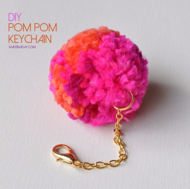 DIY Crafts with Pom Poms - DIY Pom Pom Keychains - Fun Yarn Pom Pom Crafts Ideas. Garlands, Rug and Hat Tutorials, Easy Pom Pom Projects for Your Room Decor and Gifts http://diyprojectsforteens.com/diy-crafts-pom-poms