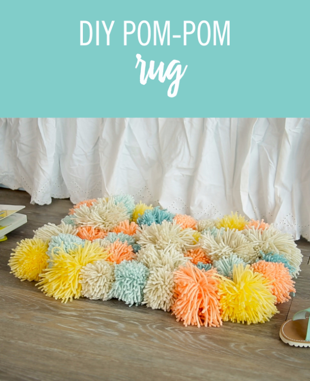 DIY Crafts with Pom Poms - DIY Pom Pom Rug - Fun Yarn Pom Pom Crafts Ideas. Garlands, Rug and Hat Tutorials, Easy Pom Pom Projects for Your Room Decor and Gifts http://diyprojectsforteens.com/diy-crafts-pom-poms