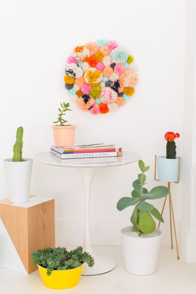 DIY Crafts with Pom Poms - DIY Pom Pom Wall Hang - Fun Yarn Pom Pom Crafts Ideas. Garlands, Rug and Hat Tutorials, Easy Pom Pom Projects for Your Room Decor and Gifts http://diyprojectsforteens.com/diy-crafts-pom-poms