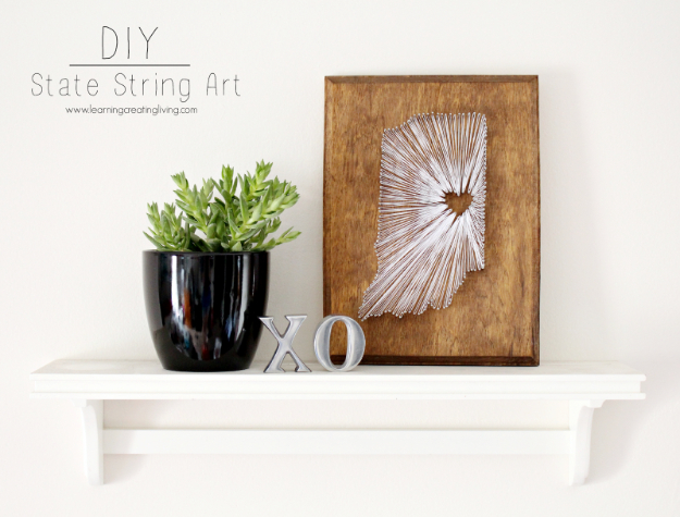 DIY String Art Projects - DIY State String Art - Cool, Fun and Easy Letters, Patterns and Wall Art Tutorials for String Art - How to Make Names, Words, Hearts and State Art for Room Decor and DIY Gifts - fun Crafts and DIY Ideas for Teens and Adults http://diyprojectsforteens.com/diy-string-art-projects