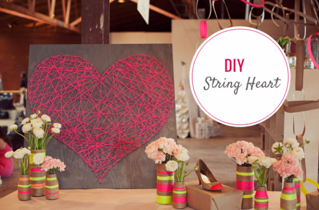 DIY String Art Projects - DIY String Heart - Cool, Fun and Easy Letters, Patterns and Wall Art Tutorials for String Art - How to Make Names, Words, Hearts and State Art for Room Decor and DIY Gifts - fun Crafts and DIY Ideas for Teens and Adults http://diyprojectsforteens.com/diy-string-art-projects