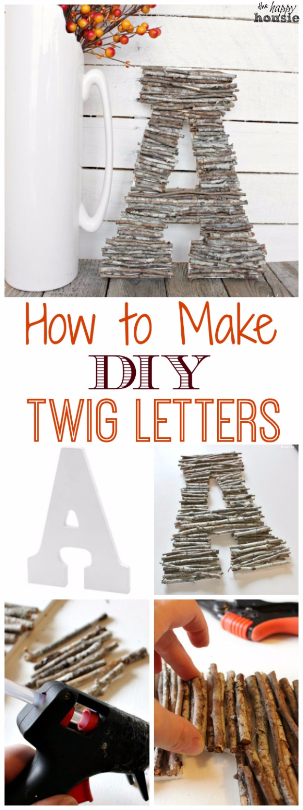 DIY Wall Letters and Initals Wall Art - DIY Twig Letters - Cool Architectural Letter Projects for Living Room Decor, Bedroom Ideas. Girl or Boy Nursery. Paint, Glitter, String Art, Easy Cardboard and Rustic Wooden Ideas