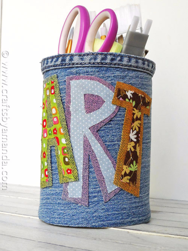 DIY School Supplies You Need For Back To School - Denim Covered Pencil Can - Cuter, Cool and Easy Projects for Teens, Tweens and Kids to Make for Middle School and High School. Fun Ideas for Backpacks, Pencils, Notebooks, Organizers, Binders http://diyprojectsforteens.com/diy-school-supplies