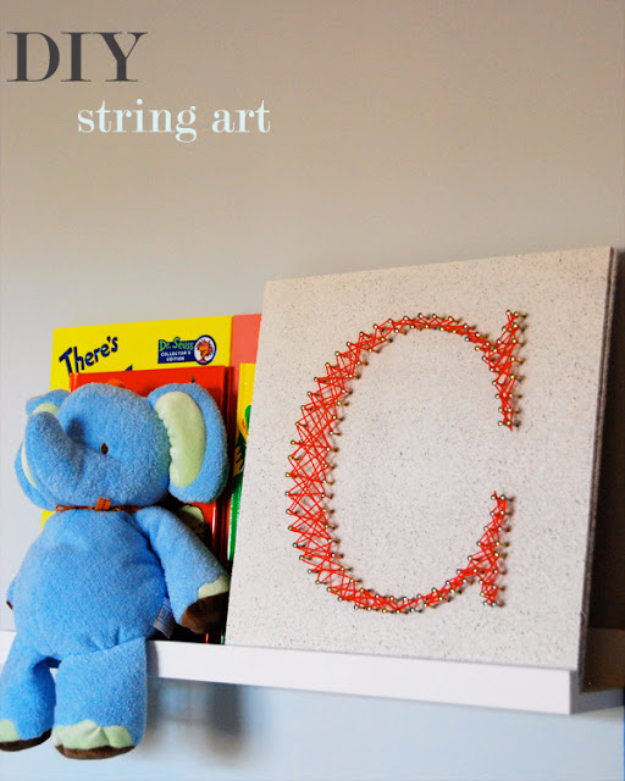 DIY String Art Projects - Easy DIY String Art - Cool, Fun and Easy Letters, Patterns and Wall Art Tutorials for String Art - How to Make Names, Words, Hearts and State Art for Room Decor and DIY Gifts - fun Crafts and DIY Ideas for Teens and Adults #diyideas #stringart #teencrafts #crafts