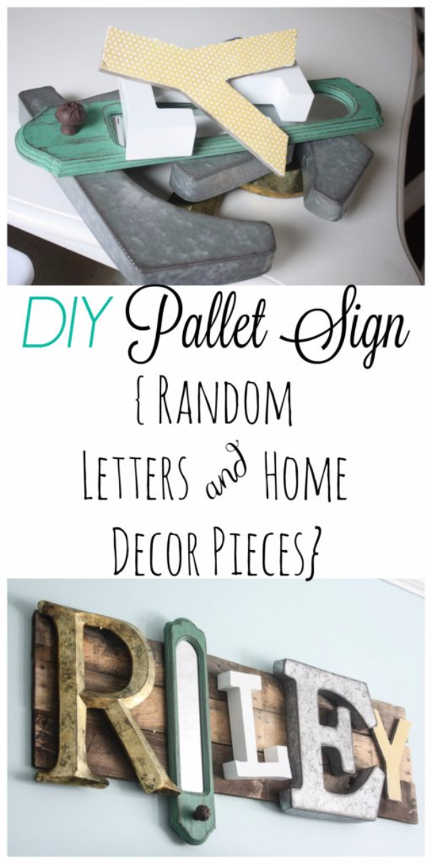 DIY Wall Letters and Initals Wall Art - Eclectic Pallet Name Sign - Cool Architectural Letter Projects for Living Room Decor, Bedroom Ideas. Girl or Boy Nursery. Paint, Glitter, String Art, Easy Cardboard and Rustic Wooden Ideas