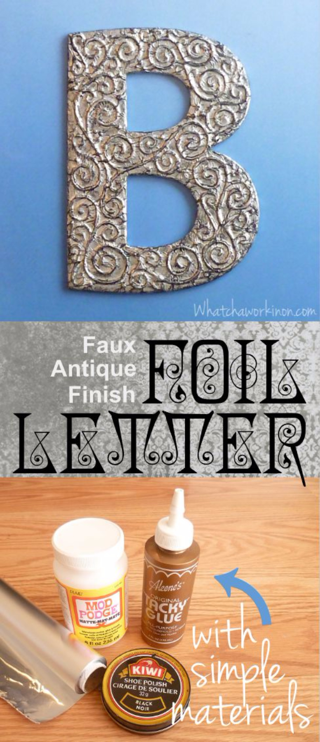 DIY Wall Letters and Initals Wall Art - Faux Antique Finish Foil Letters - Cool Architectural Letter Projects for Living Room Decor, Bedroom Ideas. Girl or Boy Nursery. Paint, Glitter, String Art, Easy Cardboard and Rustic Wooden Ideas
