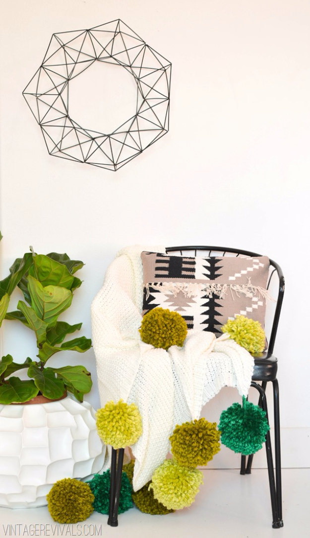 DIY Crafts with Pom Poms - Giant Pom Pom Blanket - Fun Yarn Pom Pom Crafts Ideas. Garlands, Rug and Hat Tutorials, Easy Pom Pom Projects for Your Room Decor and Gifts http://diyprojectsforteens.com/diy-crafts-pom-poms
