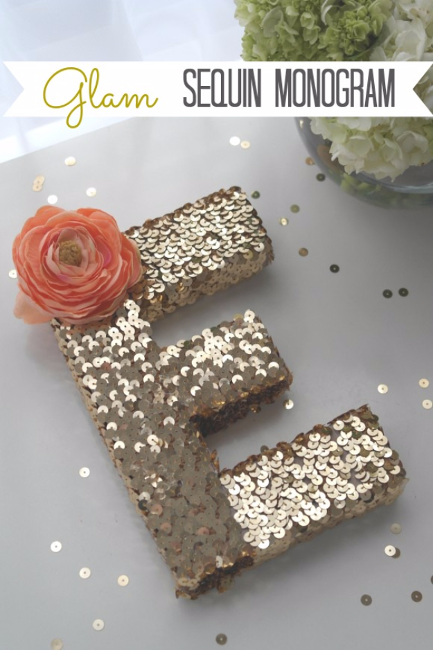 DIY Wall Letters and Initals Wall Art - Glam Sequin Monogram - Cool Architectural Letter Projects for Living Room Decor, Bedroom Ideas. Girl or Boy Nursery. Paint, Glitter, String Art, Easy Cardboard and Rustic Wooden Ideas