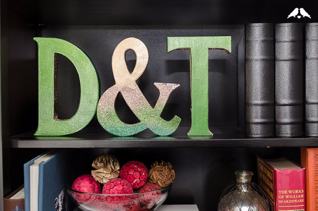 DIY Wall Letters and Initals Wall Art - Glitter Ombre Oversized Monograms - Cool Architectural Letter Projects for Living Room Decor, Bedroom Ideas. Girl or Boy Nursery. Paint, Glitter, String Art, Easy Cardboard and Rustic Wooden Ideas