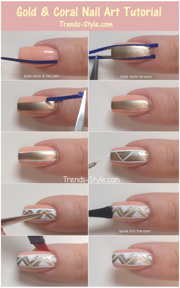 Awesome Nail Art Patterns And Ideas - Gold And Coral Nail Tutorial - Step by Step DIY Nail Design Tutorials for Simple Art, Tribal Prints, Best Black and White Manicures. Easy and Fun Colors, Shapes and Designs for Your Nails http://diyprojectsforteens.com/best-nail-art-patterns-tutorials