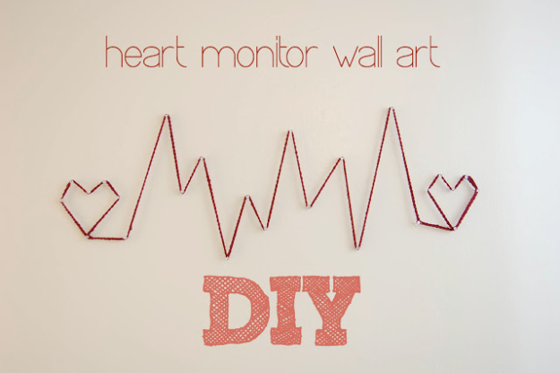 DIY String Art Projects - Heart Monitor Wall Art - Cool, Fun and Easy Letters, Patterns and Wall Art Tutorials for String Art - How to Make Names, Words, Hearts and State Art for Room Decor and DIY Gifts - fun Crafts and DIY Ideas for Teens and Adults http://diyprojectsforteens.com/diy-string-art-projects
