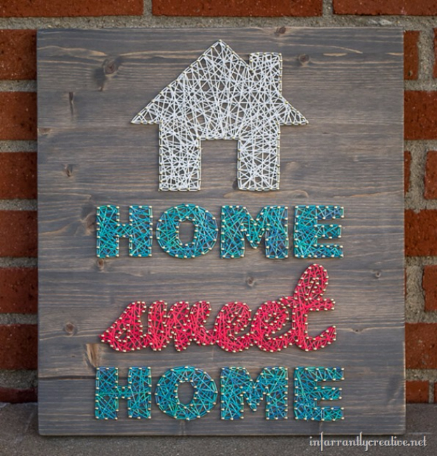 DIY String Art Projects - Home Sweet Home String Art - Cool, Fun and Easy Letters, Patterns and Wall Art Tutorials for String Art - How to Make Names, Words, Hearts and State Art for Room Decor and DIY Gifts - fun Crafts and DIY Ideas for Teens and Adults http://diyprojectsforteens.com/diy-string-art-projects