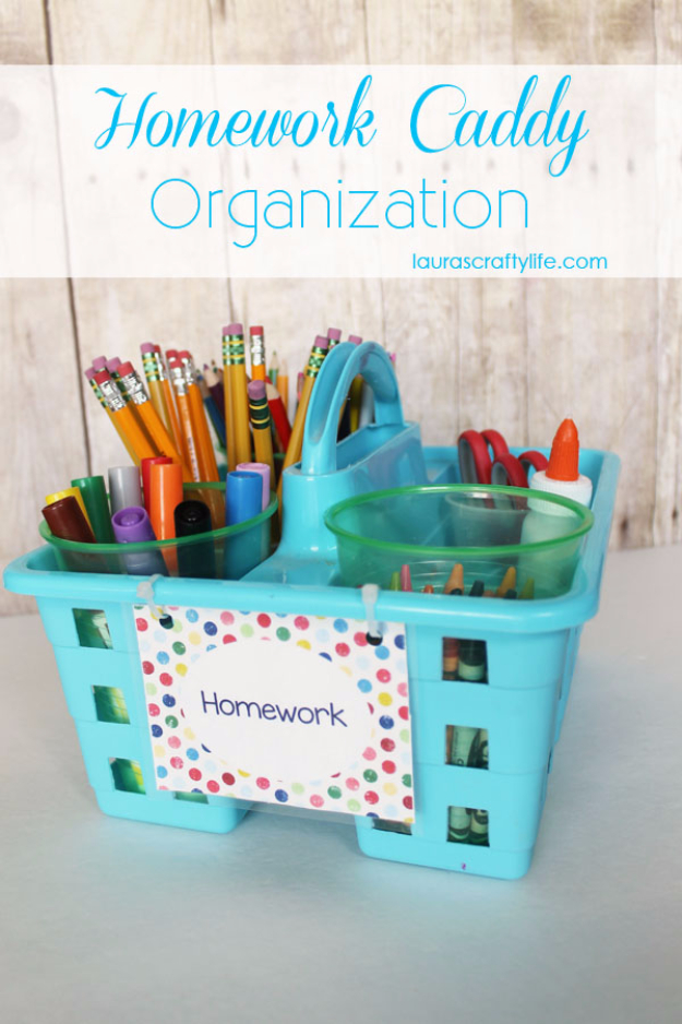 DIY School Supplies You Need For Back To School - Homework Caddy - Cuter, Cool and Easy Projects for Teens, Tweens and Kids to Make for Middle School and High School. Fun Ideas for Backpacks, Pencils, Notebooks, Organizers, Binders #diyschoolsupplies #backtoschool #teencrafts