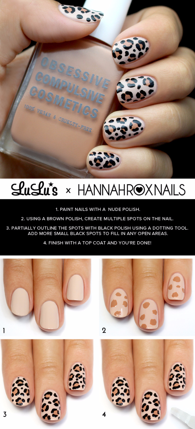 Awesome Nail Art Patterns And Ideas - Leopard Print Nail Tutorial - Step by Step DIY Nail Design Tutorials for Simple Art, Tribal Prints, Best Black and White Manicures. Easy and Fun Colors, Shapes and Designs for Your Nails http://diyprojectsforteens.com/best-nail-art-patterns-tutorials