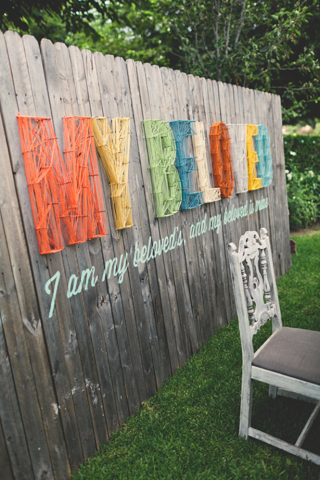 DIY String Art Projects - Modern Typography String Backdrop - Cool, Fun and Easy Letters, Patterns and Wall Art Tutorials for String Art - How to Make Names, Words, Hearts and State Art for Room Decor and DIY Gifts - fun Crafts and DIY Ideas for Teens and Adults http://diyprojectsforteens.com/diy-string-art-projects