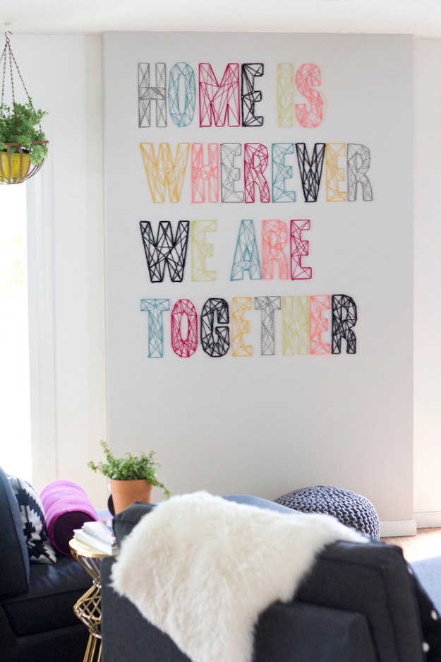 DIY String Art Projects - Nail And Yarn Wall Art - Cool, Fun and Easy Letters, Patterns and Wall Art Tutorials for String Art - How to Make Names, Words, Hearts and State Art for Room Decor and DIY Gifts - fun Crafts and DIY Ideas for Teens and Adults http://diyprojectsforteens.com/diy-string-art-projects