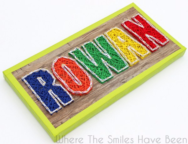 DIY String Art Projects - No Hammering Faux Wood String Art - Cool, Fun and Easy Letters, Patterns and Wall Art Tutorials for String Art - How to Make Names, Words, Hearts and State Art for Room Decor and DIY Gifts - fun Crafts and DIY Ideas for Teens and Adults http://diyprojectsforteens.com/diy-string-art-projects