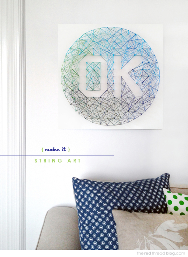 DIY String Art Projects - Ombre String Art - Cool, Fun and Easy Letters, Patterns and Wall Art Tutorials for String Art - How to Make Names, Words, Hearts and State Art for Room Decor and DIY Gifts - fun Crafts and DIY Ideas for Teens and Adults http://diyprojectsforteens.com/diy-string-art-projects