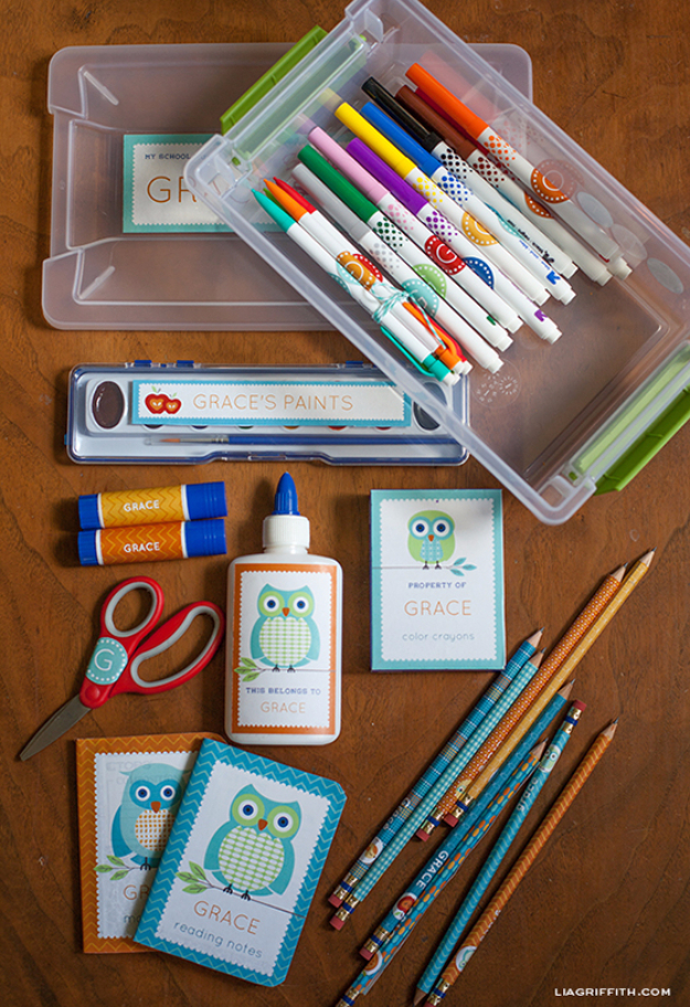 DIY School Supplies You Need For Back To School - Personalized School Supply Labels - Cuter, Cool and Easy Projects for Teens, Tweens and Kids to Make for Middle School and High School. Fun Ideas for Backpacks, Pencils, Notebooks, Organizers, Binders #diyschoolsupplies #backtoschool #teencrafts