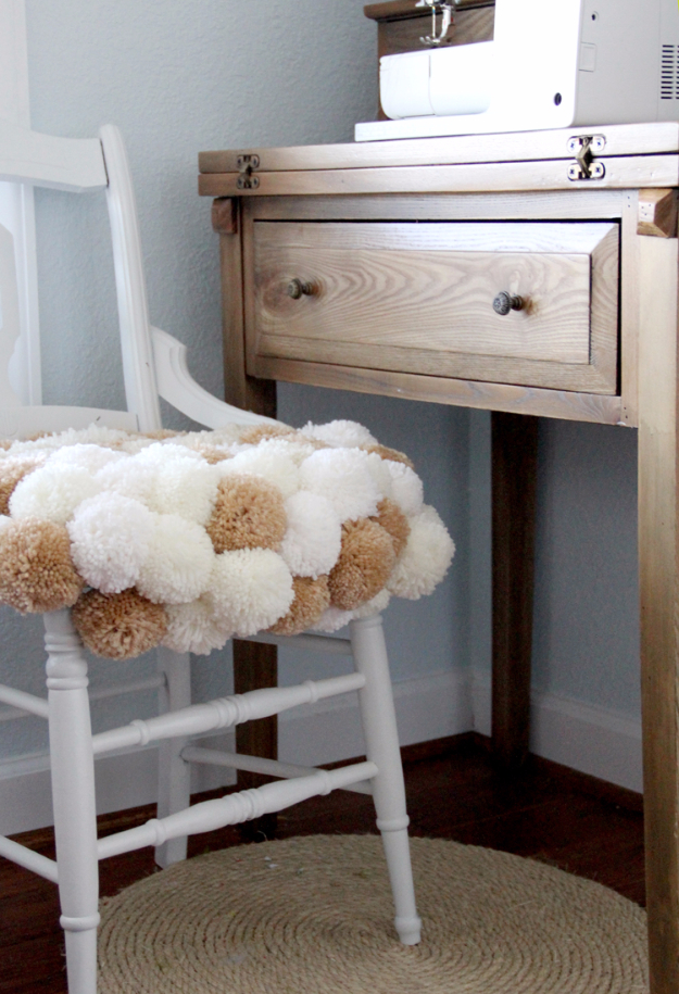 DIY Crafts with Pom Poms - Pom Pom Chair DIY - Fun Yarn Pom Pom Crafts Ideas. Garlands, Rug and Hat Tutorials, Easy Pom Pom Projects for Your Room Decor and Gifts http://diyprojectsforteens.com/diy-crafts-pom-poms