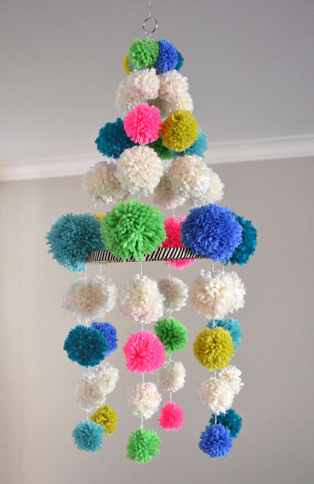 DIY Crafts with Pom Poms - Pom Pom Chandelier - Fun Yarn Pom Pom Crafts Ideas. Garlands, Rug and Hat Tutorials, Easy Pom Pom Projects for Your Room Decor and Gifts http://diyprojectsforteens.com/diy-crafts-pom-poms