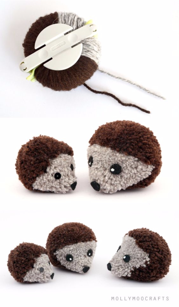 DIY Crafts with Pom Poms - Pom Pom Hedgehogs - Fun Yarn Pom Pom Crafts Ideas. Garlands, Rug and Hat Tutorials, Easy Pom Pom Projects for Your Room Decor and Gifts http://diyprojectsforteens.com/diy-crafts-pom-poms