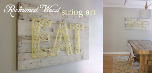 DIY String Art Projects - Reclaimed Wood String Art - Cool, Fun and Easy Letters, Patterns and Wall Art Tutorials for String Art - How to Make Names, Words, Hearts and State Art for Room Decor and DIY Gifts - fun Crafts and DIY Ideas for Teens and Adults http://diyprojectsforteens.com/diy-string-art-projects