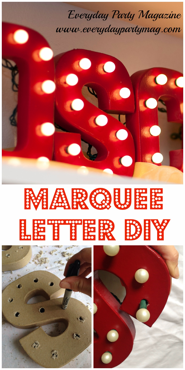 DIY Wall Letters and Initals Wall Art - Red Marquee Letters DIY - Cool Architectural Letter Projects for Living Room Decor, Bedroom Ideas. Girl or Boy Nursery. Paint, Glitter, String Art, Easy Cardboard and Rustic Wooden Ideas