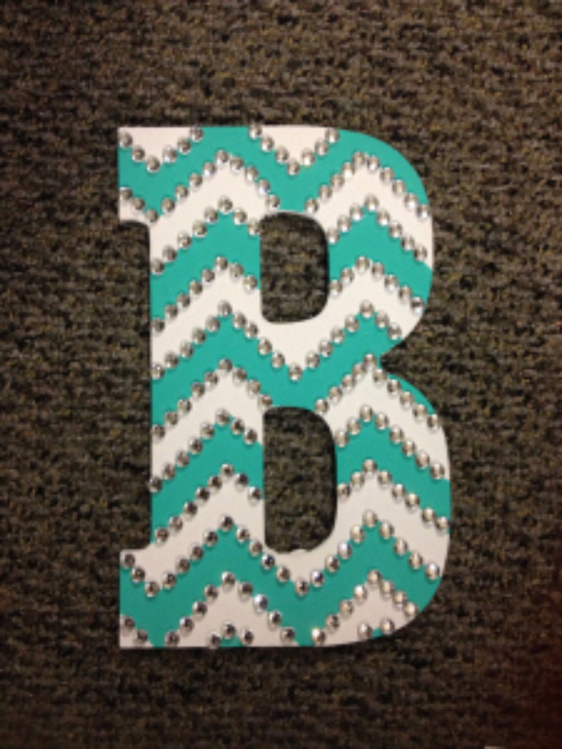 DIY Wall Letters and Initals Wall Art - Rhinestoned Chevron Letter - Cool Architectural Letter Projects for Living Room Decor, Bedroom Ideas. Girl or Boy Nursery. Paint, Glitter, String Art, Easy Cardboard and Rustic Wooden Ideas