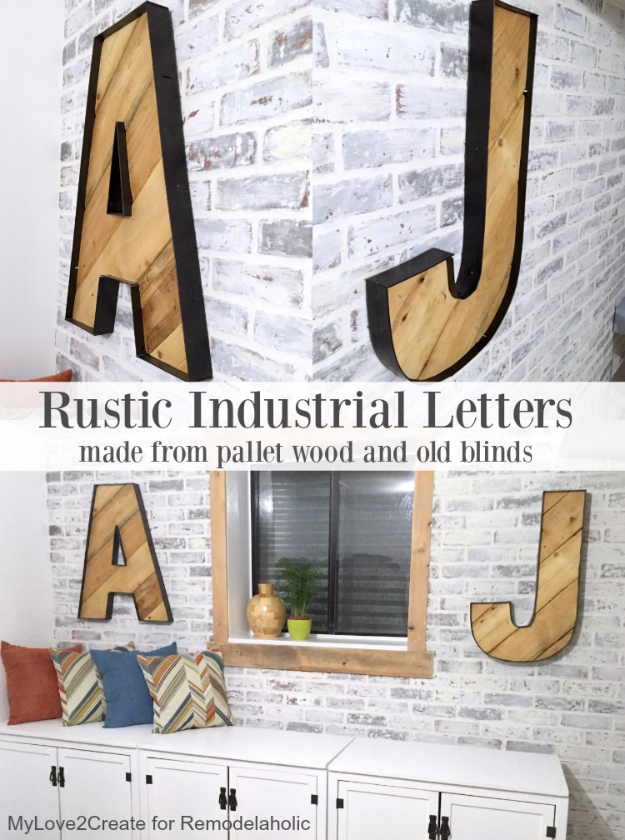 DIY Wall Letters And Initals Wall Art   Rustic Industrial Letters From Wood  Pallet Blinds