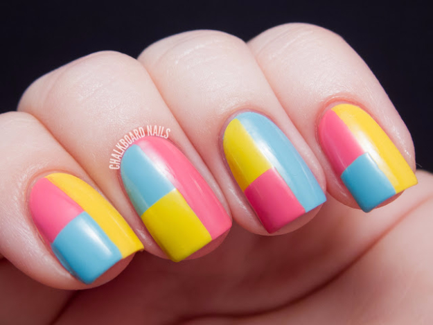 Awesome Nail Art Patterns And Ideas - Springtime Color Block Nails - Step by Step DIY Nail Design Tutorials for Simple Art, Tribal Prints, Best Black and White Manicures. Easy and Fun Colors, Shapes and Designs for Your Nails http://diyprojectsforteens.com/best-nail-art-patterns-tutorials