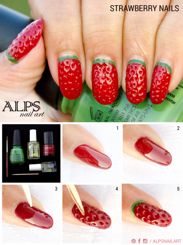 Awesome Nail Art Patterns And Ideas - Strawberry Nails - Step by Step DIY Nail Design Tutorials for Simple Art, Tribal Prints, Best Black and White Manicures. Easy and Fun Colors, Shapes and Designs for Your Nails http://diyprojectsforteens.com/best-nail-art-patterns-tutorials