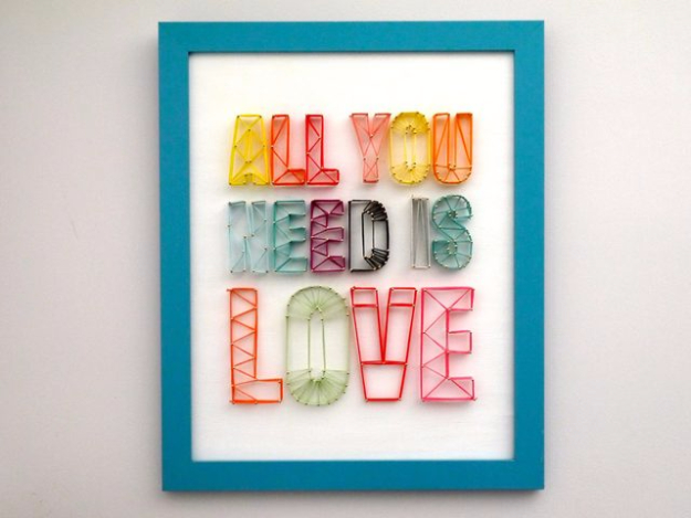 DIY String Art Projects - String Art Sign - Cool, Fun and Easy Letters, Patterns and Wall Art Tutorials for String Art - How to Make Names, Words, Hearts and State Art for Room Decor and DIY Gifts - fun Crafts and DIY Ideas for Teens and Adults http://diyprojectsforteens.com/diy-string-art-projects