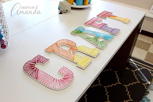 DIY String Art Projects - String Art Wall Letters - Cool, Fun and Easy Letters, Patterns and Wall Art Tutorials for String Art - How to Make Names, Words, Hearts and State Art for Room Decor and DIY Gifts - fun Crafts and DIY Ideas for Teens and Adults #diyideas #stringart #teencrafts #crafts