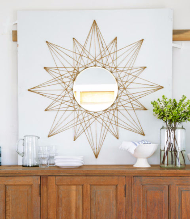 DIY String Art Projects - Sunburst String Art - Cool, Fun and Easy Letters, Patterns and Wall Art Tutorials for String Art - How to Make Names, Words, Hearts and State Art for Room Decor and DIY Gifts - fun Crafts and DIY Ideas for Teens and Adults #diyideas #stringart #teencrafts #crafts