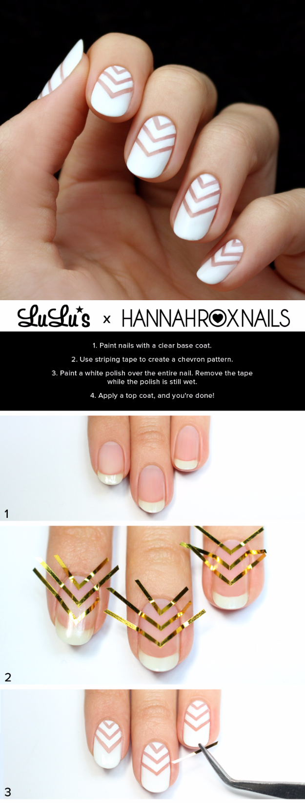 Awesome Nail Art Patterns And Ideas - White Chevron Negative Space Tutorial - Step by Step DIY Nail Design Tutorials for Simple Art, Tribal Prints, Best Black and White Manicures. Easy and Fun Colors, Shapes and Designs for Your Nails