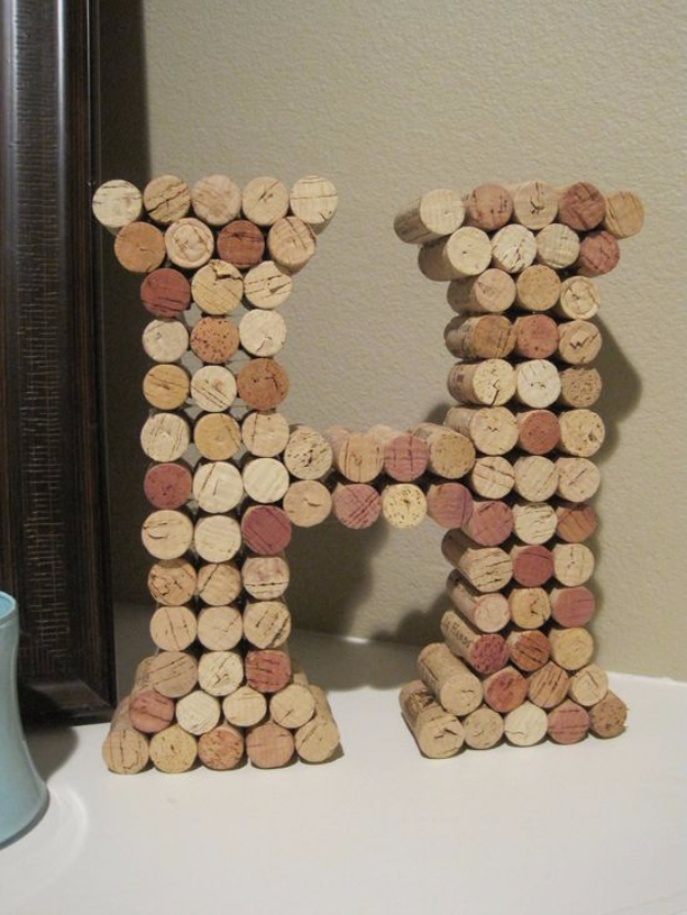 DIY Wall Letters and Initals Wall Art - Wine Cork Letters - Cool Architectural Letter Projects for Living Room Decor, Bedroom Ideas. Girl or Boy Nursery. Paint, Glitter, String Art, Easy Cardboard and Rustic Wooden Ideas http://diyprojectsforteens.com/diy-projects-with-letters-wall
