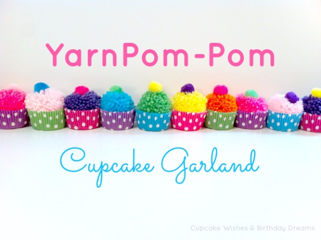 DIY Crafts with Pom Poms - Yarn Pom Pom Cupcake Garland - Fun Yarn Pom Pom Crafts Ideas. Garlands, Rug and Hat Tutorials, Easy Pom Pom Projects for Your Room Decor and Gifts http://diyprojectsforteens.com/diy-crafts-pom-poms
