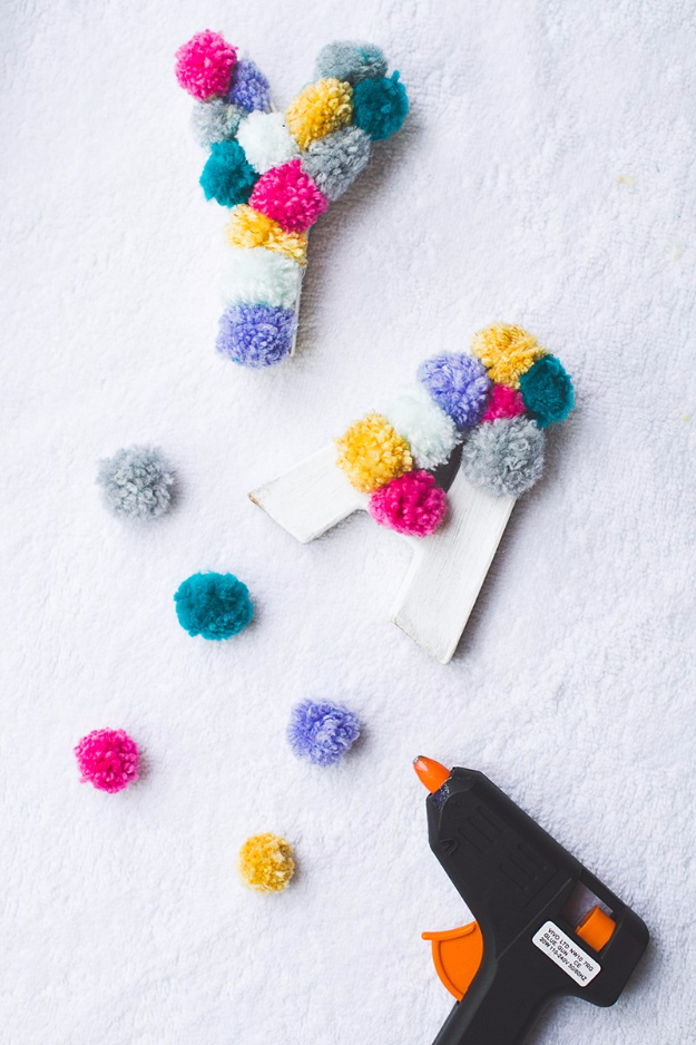 DIY Wall Letters and Initals Wall Art - Yarn Pompom Letters - Cool Architectural Letter Projects for Living Room Decor, Bedroom Ideas. Girl or Boy Nursery. Paint, Glitter, String Art, Easy Cardboard and Rustic Wooden Ideas http://diyprojectsforteens.com/diy-projects-with-letters-wall