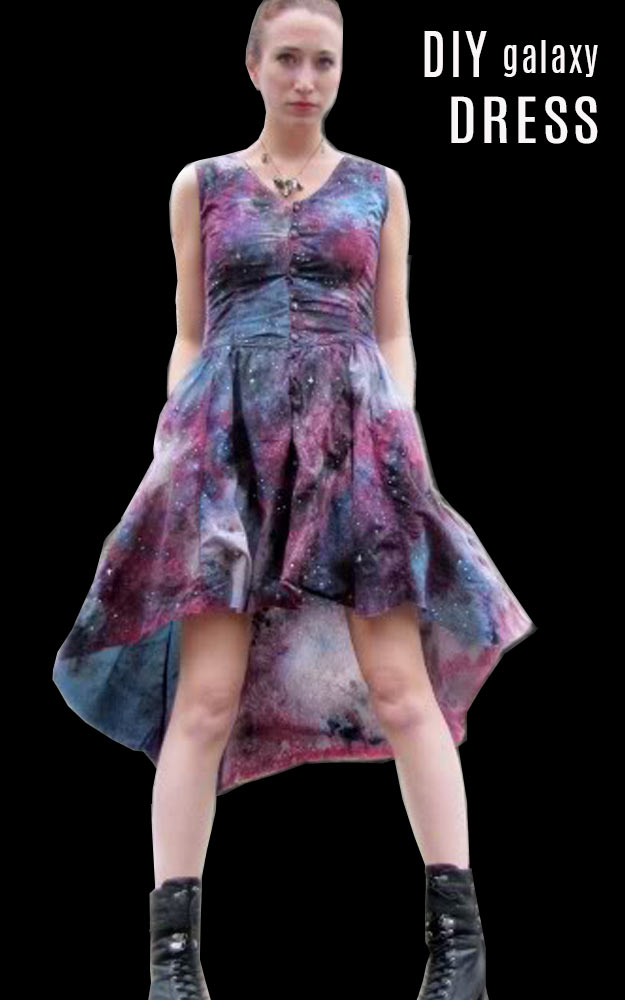 DIY Galaxy Crafts - DIY Galaxy Dress - Galaxy DIY Projects for Your Room, Gifts, Clothes. Ideas for Painting Jewelry, Shirts, Jar Ideas, Food and Makeup. Step by Step Tutorials for Teens, Tweens and Adults
