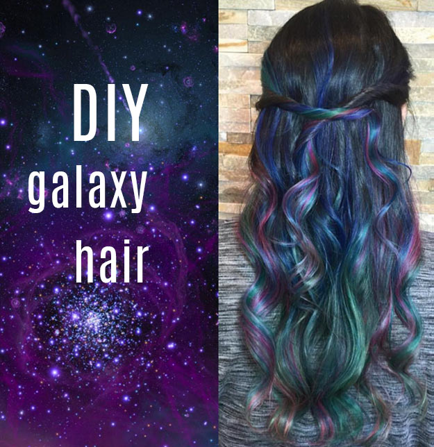 DIY Galaxy Crafts - DIY Galaxy hair tutorial - Galaxy DIY Projects for Your Room, Gifts, Clothes. Ideas for Painting Jewelry, Shirts, Jar Ideas, Food and Makeup. Step by Step Tutorials for Teens, Tweens and Adults