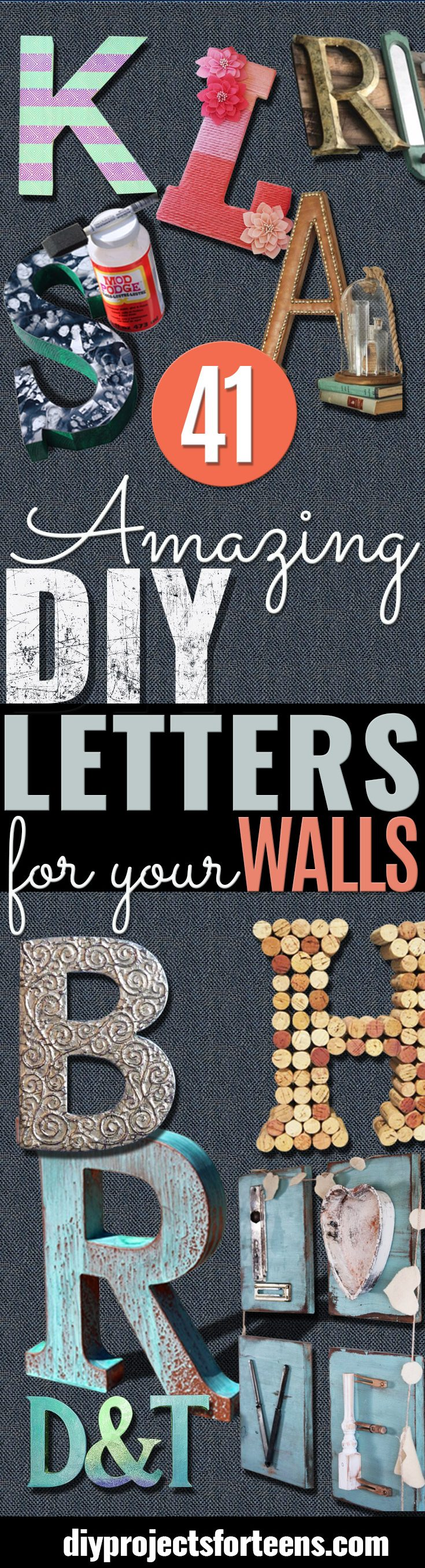 DIY Wall Letters and Initals Wall Art - Cool Architectural Letter Projects for Living Room Decor, Bedroom Ideas. Girl or Boy Nursery. Paint, Glitter, String Art, Easy Cardboard and Rustic Wooden Ideas
